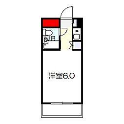 パイン北野田 2階1Kの間取り