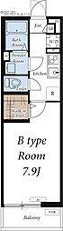 つくばエクスプレス 南流山駅 徒歩13分の賃貸アパート 3階1Kの間取り
