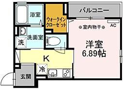 ルミエールIII 3階1Kの間取り