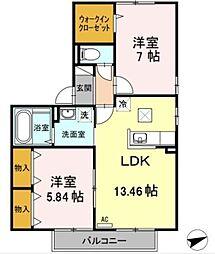 神奈川県横浜市青葉区荏田西2丁目の賃貸アパートの間取り