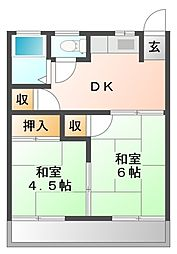 愛知県岡崎市羽根町字鰻池の賃貸アパートの間取り