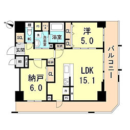 Cherir六甲道 8階2LDKの間取り
