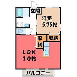 栃木県真岡市並木町1丁目の賃貸アパートの間取り