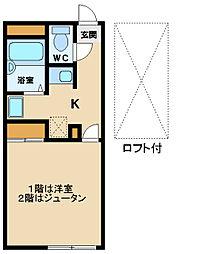 レオパレスTAKAKI 2階1Kの間取り
