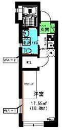 京王線 府中駅 徒歩6分の賃貸アパート 3階ワンルームの間取り