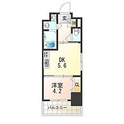 レオンヴァリエ大阪ベイシティ 2階1DKの間取り