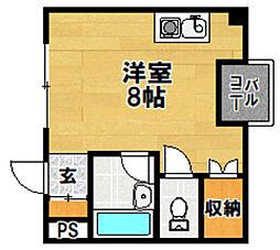阪急京都本線 上新庄駅 徒歩17分の賃貸マンション 4階ワンルームの間取り