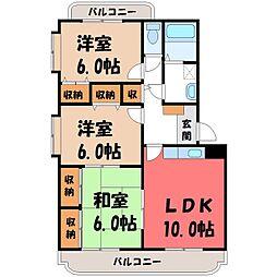 栃木県栃木市沼和田町の賃貸マンションの間取り
