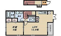 大阪府堺市堺区南旅篭町東2丁の賃貸アパートの間取り