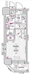 東急東横線 新丸子駅 徒歩4分の賃貸マンション 8階1Kの間取り