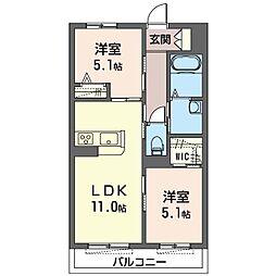 座間市栗原中央1丁目マンション (仮) 3階2LDKの間取り
