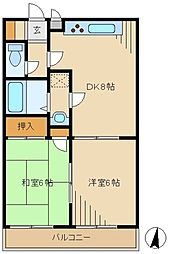 シャンブルド昭島 2階2DKの間取り