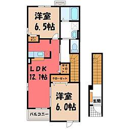 栃木県小山市大字横倉の賃貸アパートの間取り