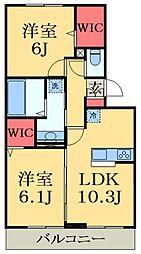 京成千原線 ちはら台駅 徒歩35分の賃貸アパート 2階2LDKの間取り