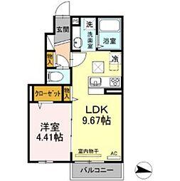 京王井の頭線 西永福駅 徒歩7分の賃貸アパート 1階1LDKの間取り