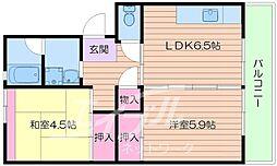 UR箕面粟生第3 18号棟[6階]の間取り