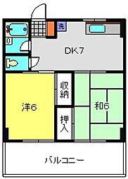 神奈川県横浜市港南区大久保2丁目の賃貸マンションの間取り