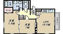 リビングタウン南花田 A・B棟[3階]の間取り