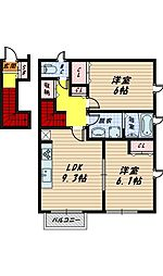 大阪府大阪市城東区成育4丁目の賃貸アパートの間取り