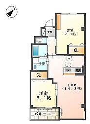 Osaka Metro御堂筋線 新金岡駅 徒歩9分の賃貸マンション 3階2LDKの間取り