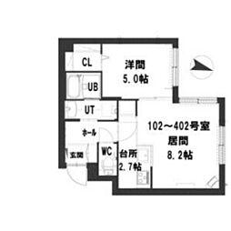 グランメール Residence元町 3階1LDKの間取り