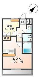 埼玉県日高市大字鹿山の賃貸アパートの間取り