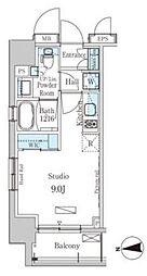 東京メトロ銀座線 稲荷町駅 徒歩5分の賃貸マンション 11階ワンルームの間取り