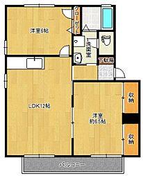 サンハイツAKIYAMA A[202号室]の間取り