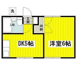東京都立川市柏町1の賃貸アパートの間取り