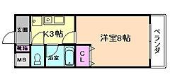 大阪府豊中市庄内西町2丁目の賃貸マンションの間取り