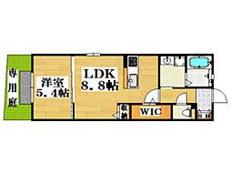 西鉄天神大牟田線 西鉄平尾駅 徒歩12分の賃貸アパート 1階1LDKの間取り