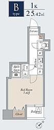 東京メトロ日比谷線 入谷駅 徒歩1分の賃貸マンション 12階1Kの間取り