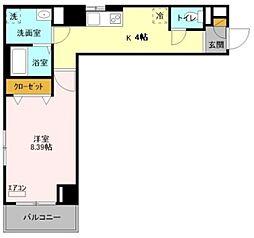 プリムヴェール 2階1Kの間取り
