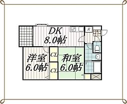 千葉県千葉市中央区登戸2丁目の賃貸マンションの間取り