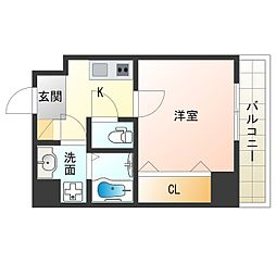 Osaka Metro中央線 阿波座駅 徒歩9分の賃貸マンション 8階1Kの間取り