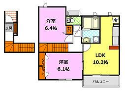 茨城県下妻市下木戸の賃貸アパートの間取り