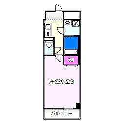 JR阪和線 三国ヶ丘駅 徒歩4分の賃貸マンション 2階1Kの間取り