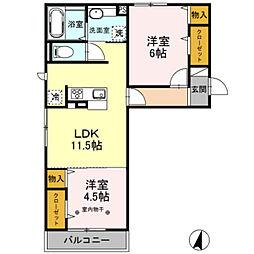 埼玉県さいたま市岩槻区美園東3丁目の賃貸アパートの間取り