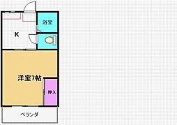 コスモハイツ七隈[104号室]の間取り