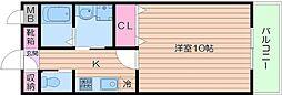 Osaka Metro御堂筋線 天王寺駅 徒歩15分の賃貸マンション 3階1Kの間取り