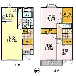 [テラスハウス] 富山県富山市小杉 の賃貸【/】の間取り