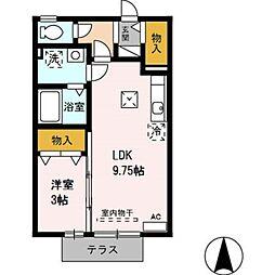 愛知県田原市加治町西屋敷の賃貸アパートの間取り
