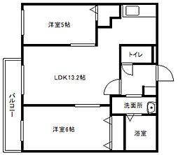 レオン東札幌[4階]の間取り