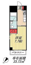JR総武線 市川駅 徒歩5分の賃貸マンション 2階1Kの間取り
