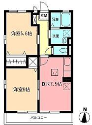 ファミールシャンブルA[1階]の間取り