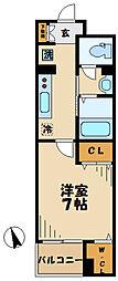 多摩都市モノレール 大塚・帝京大学駅 徒歩2分の賃貸マンション 2階1Kの間取り