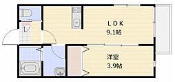 フィカーサ東大宮 1階1LDKの間取り
