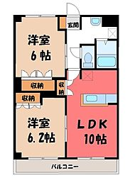 栃木県小山市大字粟宮の賃貸マンションの間取り