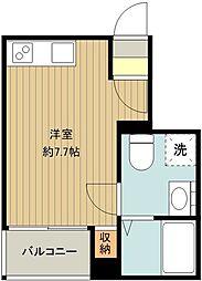 JR中央線 国分寺駅 徒歩13分の賃貸アパート 1階ワンルームの間取り