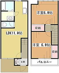 [テラスハウス] 東京都東大和市新堀3丁目 の賃貸【/】の間取り